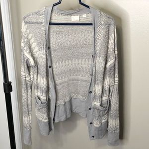 Anthropologie Gray And White Button Up Cardigan
